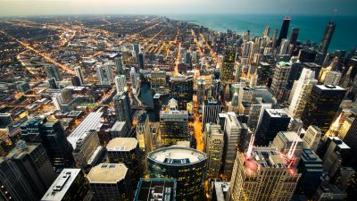Chicago City, Cityscape, City lights, Dusk, Skyscrapers, Skyline, Horizon, Landscape, Aerial view