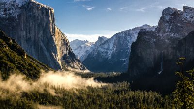 Yosemite National Park, California, Valley, Landscape, Misty, Mountains, Cliffs, Clear sky, Tourist attraction, Forest, Green Trees, Morning light, Snow covered
