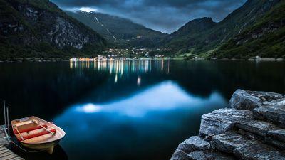Geiranger, Norway, Village, Mountains, Lake, Dusk, Reflection, Landscape, Long exposure, Boat, Rocks, Clouds, Tourist attraction