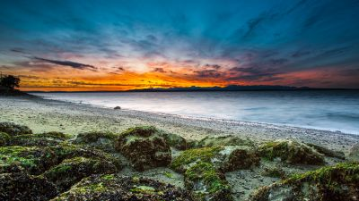 Alki Beach, West Seattle, Washington, Seascape, Sunset Orange, Long exposure, Green Moss, Rocky coast, Beach, Horizon