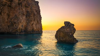 Milos Beach, Greece, Lefkada Island, Lone rock, Sunset Orange, Clear sky, Cliff, Horizon, Seascape, Water waves, Ocean blue