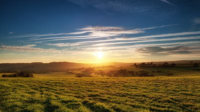 Green Meadow, Grass field, Landscape, Sunset, South Downs National Park, United Kingdom, Findon