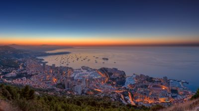 Monaco Yacht Show, Monaco City, Cityscape, City lights, Aerial view, Horizon, Sunrise, Seascape, Boats, Skyscrapers, HDR, Ocean