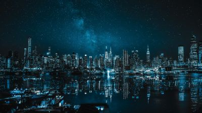 New York City, Cityscape, Night, City lights, Reflections, 5K