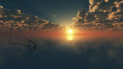 Sunset, Cloudy Sky, Horizon, Body of Water, Reflection, Seascape, Tree Branch, Digital render, Ocean