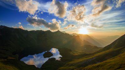 Schrecksee Lake, Germany, Sunset, Mirror Lake, Hinterstein, Landscape, Reflection, Sun rays, Mountain range, White Clouds