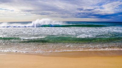 Crashing Waves, Ocean, Beach, Sand, Seascape, Horizon, Cloudy Sky, Landscape, Australia