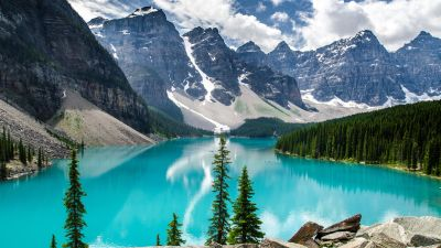 Moraine Lake, Canada, Valley of the Ten Peaks, Banff National Park, Glacier mountains, Snow covered, Green Trees, Reflection, Blue Water, Daytime, Landscape, Scenery
