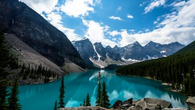 Moraine Lake, Canada, Alberta, Valley of the Ten Peaks, Banff National Park, Glacier mountains, Green Trees, Reflection, Blue Water, Blue Sky, Daytime, Landscape, Scenery, White Clouds