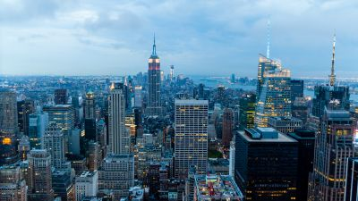 New York City, Cityscape, City lights, Sunset, Skyline, Cloudy Day, Landmarks, Skyscrapers, Aerial view, High rise building, Evening sky, Horizon