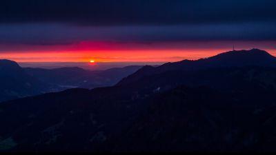 Mountain silhouette, Sunset, Dusk, Mountain range, Red Sky, Grünten, Germany, Landscape, Horizon