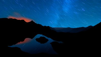 Schrecksee Lake, Star Trails, Germany, Night time, Mirror Lake, Hinterstein, Landscape, Reflection, Mountain range, Silhouette, Blue Sky, Outer space