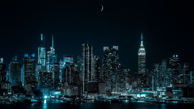 New York City, Cityscape, Night, City lights, Half moon, 5K