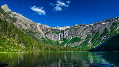 Avalanche Lake, Montana, USA, Glacier National Park, Landscape, Mountain range, Clear sky, Blue Sky, Scenery, Reflection, Green Trees, HDR