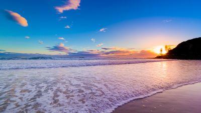 Burleigh Heads, Queensland, Australia, City of Gold Coast, Beach, Coastal, Ocean Waves, Seascape, Sunset, Clear Sky, Blue Sky, Landscape, Horizon