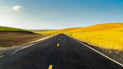 Meadow, Country Side, USA, Landscape, Endless Road, Clear sky, Scenery, Beautiful, Fields