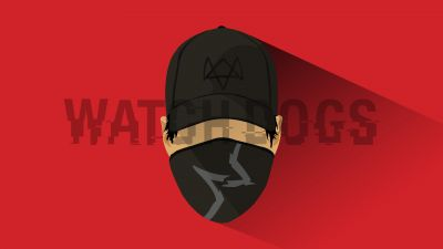 Marcus Holloway, Watch Dogs 2, Red background, Minimal art, 5K, 8K