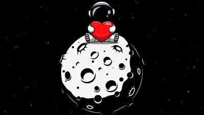 Red heart, Astronaut, Planet, Outer space, Black background, AMOLED, Cute, 5K