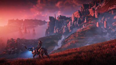 Horizon Zero Dawn, Aloy, Scenery, Game Art, Landscape, 5K
