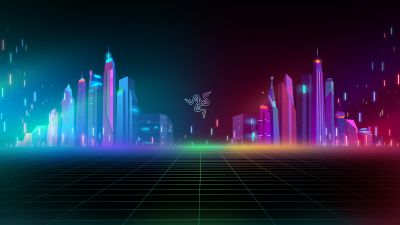 Razer, Cyber city, Neon, Colorful, Cityscape, Futuristic