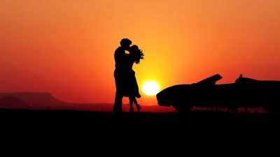 Couple, Romantic kiss, Sunset, Silhouette, Car, Together