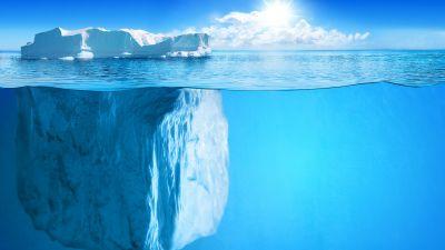 Iceberg, Growlers, Bergy bits, Fresh water, Floating, Ocean blue, Sunny day, Blue Sky, White Clouds, Horizon, 5K, 8K