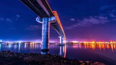 Sergio Osmeña Bridge, Philippines, Mactan-Mandaue Bridge, Under the bridge, Night time, City lights, Dusk, Body of Water, Worms Eye View, Reflection, Clear sky, 5K