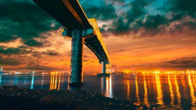 Sergio Osmeña Bridge, Philippines, Mactan-Mandaue Bridge, Sunset, City lights, Dusk, Body of Water, Reflection, Cloudy Sky, 5K