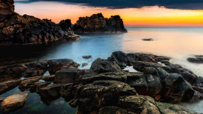 Rocky coast, Rock formations, Seascape, Ocean, Sunset Orange, Horizon, 5K
