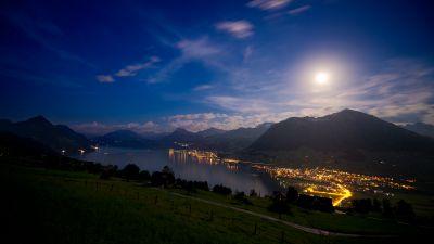 Lake Lucerne, Switzerland, Moon light, Landscape, Night time, Mountains, Blue Sky, Lakeside, Village, Dusk