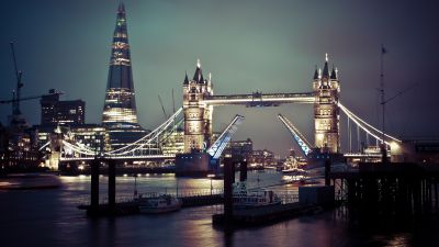 Tower Bridge, London, United Kingdom, Cityscape, City lights, Night time, Skyscrapers, Landmark, Famous Place, The Shard, Body of Water