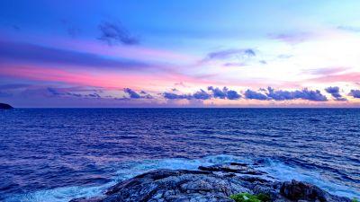 Promthep Cape, Phuket, Thailand, Seascape, Rocky coast, Sunset, Horizon, Cloudy Sky, Scenery, Horizon, Tourist attraction