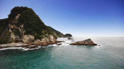 Coastline, Seascape, Landscape, Horizon, Mountains, Clear sky, Rocky coast