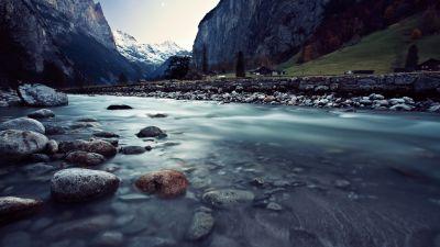 River Stream, Mountains, Long exposure, Landscape, Rocks