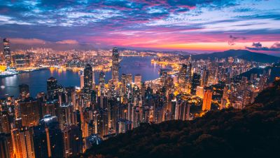 Hong Kong, Cityscape, Night, City lights, Metropolitan, Twilight, Skyline, Aerial view, 5K
