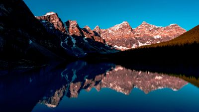 Rocky Mountains, Banff, Canada, Blue Sky, Reflection, Mountain Range, Landscape, Scenery, Clear sky, Mountain lake