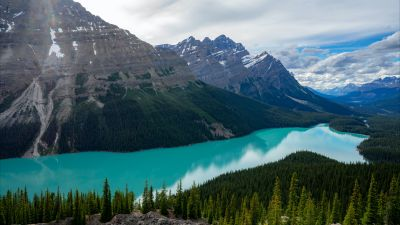 Peyto Lake, Canada, Glacier mountains, Snow covered, Landscape, Mountain range, Banff National Park, Canadian Rockies, Cloudy Sky, Turquoise water, 5K