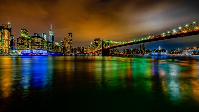 Brooklyn Bridge, New York, Cityscape, City lights, Night time, Skyline, Body of Water, Reflection, Long exposure, Skyscrapers, 5K