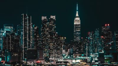 New York City, Cityscape, Night, City lights, Half moon, Starry sky