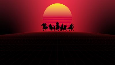 Red Dead Redemption, Synthwave, Outrun, 5K, 8K