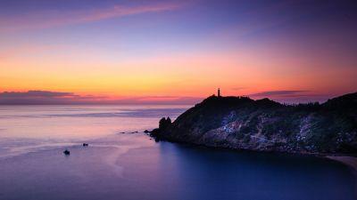Lighthouse, Sunset, Dusk, Twilight, Seascape, Scenic, Ocean, 5K