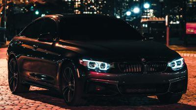 BMW M3, Black Edition, Night, City lights, 5K