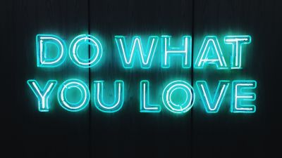 Do What You Love, Black background, Neon sign, Glowing text, Blue light, Inspirational