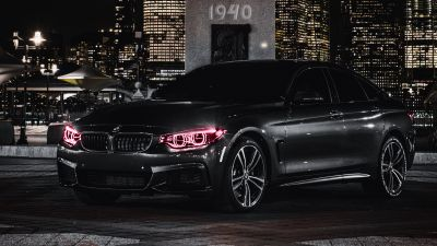 BMW M4, Black Edition, Angel Eyes, Night, City lights, 5K