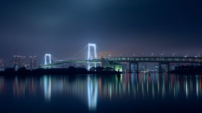 Rainbow Bridge, Tokyo, Japan, Suspension bridge, Waterfront, Silhouette, Cityscape, City lights, Night time, Skyscrapers, Reflection, 5K