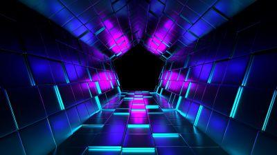 3D background, Shapes, Geometric, Pattern, Illustration, Purple, Dark blue, Vanishing point, Tunnel, Pentagon