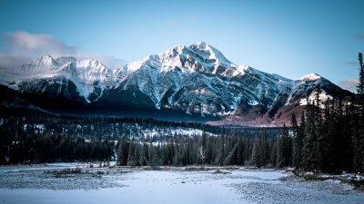Jasper National Park, Alberta, Canada, Winter, Glacier Mountains, Rocky Mountains, Mountain range, Blue Sky, Landscape, Scenery, Snow Covered, 5K, 8K