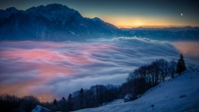 Above clouds, Mountains, Peak, Sunrise, Moon, Winter, Cold, Scenic