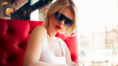 Woman, Modern, Teen, Lips, Goggles, Portrait, Lipstick, 5K