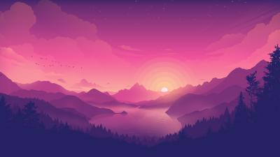 Lakeside, Pink sky, Sunset, Minimal art, Gradient background, Landscape, Scenic, Panorama, Aesthetic, 5K, 8K